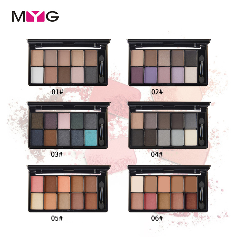 MYG 10 Color Nude Makeup Eye Shadow Palette Naked Smoky Glitter Matte Make Up Brush Tool Set Eyeshadow Maquillage Cosmetics