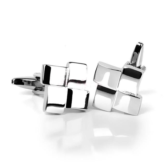Men's Gingham Silver Cufflinks