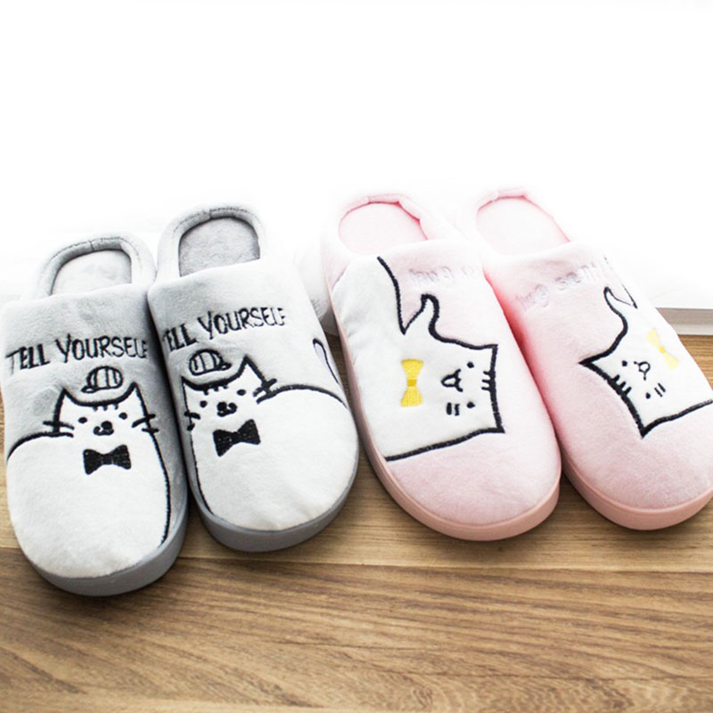 Warm Cartoon Cat Winter Slippers Women Home Shoes Comfort Home Shoes For Women Plus Indoor Shoes Fur Slippers Cat Slippers bow slippers women winter warm slippers ladies flats shoes women indoor home slippers home shoes for women zapatillas mujer 2018