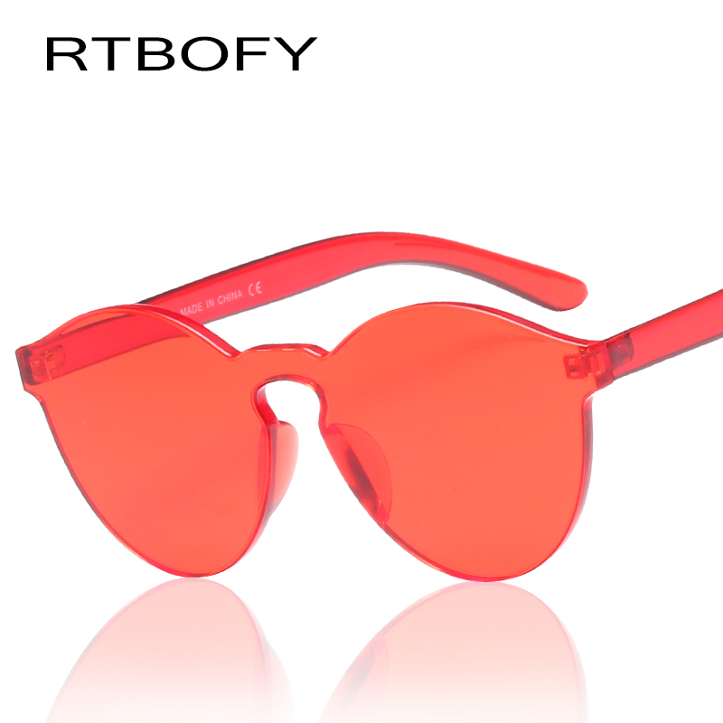 RTBOFY Fashion Women Sunglasses Cat Eye Shades Luxury Brand Designer Sun glasses Integrated Eyewear Candy Color UV400