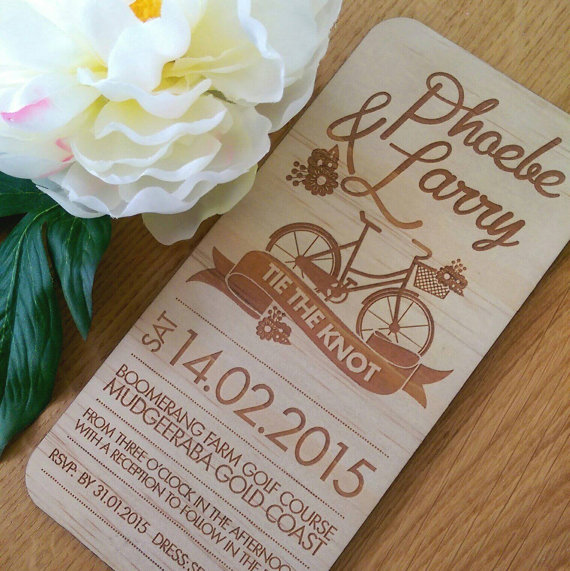 rustic wedding invitation bicycle design laser etched wooden