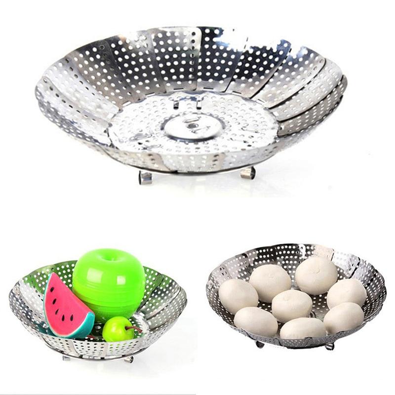 Stainless Steel Telescopic Steam Rack Foodsteamerbasket Cookingbasket Fooddish Foodd Ishfoldingmesh Basket Boilerssteamer