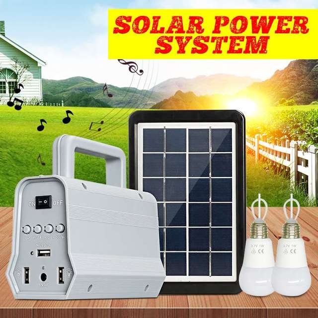 Solar Power Panel Generator Kit bluetooth Speaker USB Charger Home System + 2 LED Bulbs for Outdoor Lighting Smartphone charging