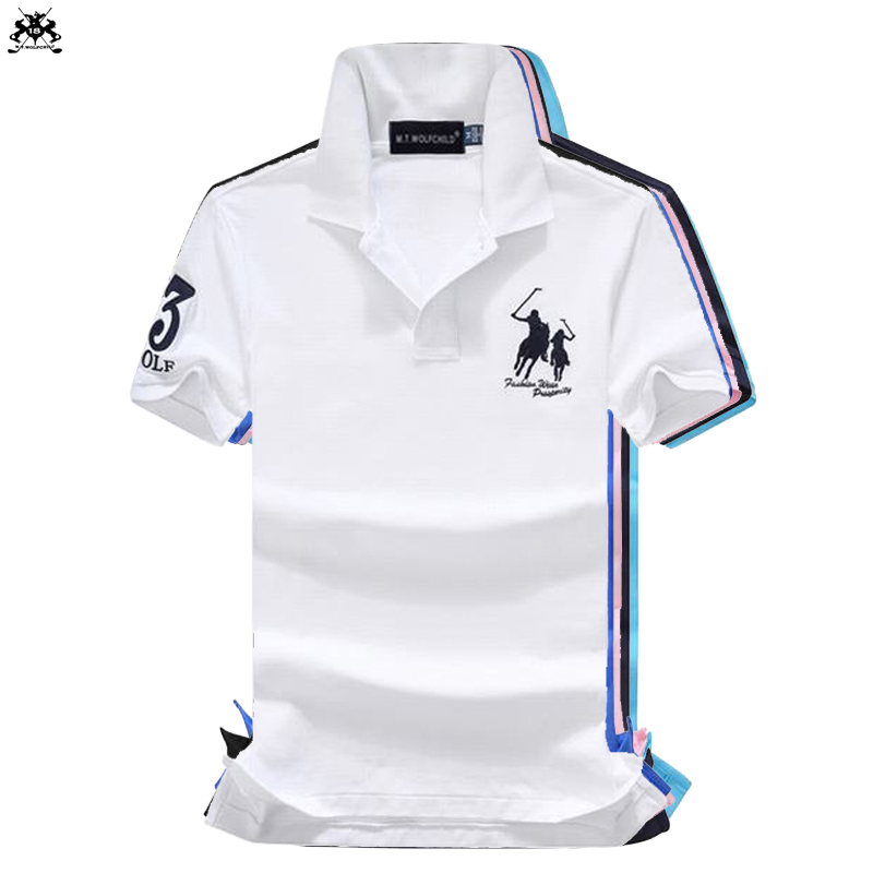 16 Colors 2018 Fashion Brand Summer Mens Short Sleeve Horse Polos Shirts Cotton Mens Lapel Polos Shirts Casual Slim Mens Tops