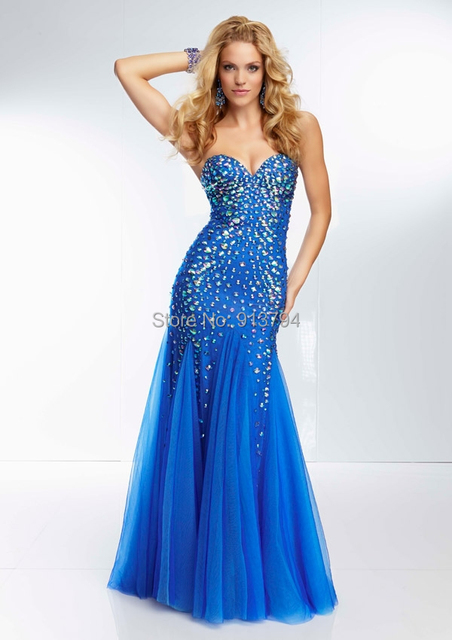 New Style 2014 Sweetheart Mermaid Sexy Prom Dresses Plus Size Blue