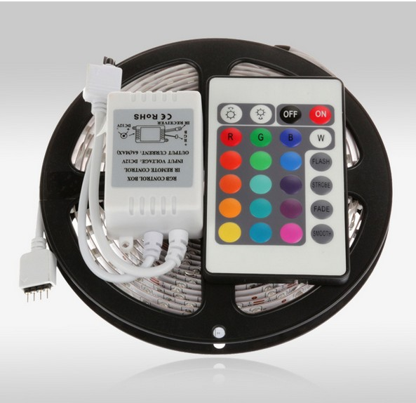 3528 led strip 5M/roll 60led/M led strips SMD 3528 DC12V safe led bar light,24Key IR remote controller(only for RGB) RoHS CE