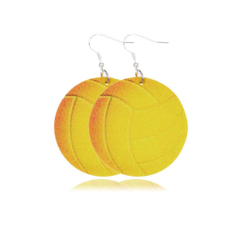 3D スポーツ Pu レザーイヤリングサッカーバスケットボール野球のためのファッションブラブライヤリング女性 2019 ステートメントイヤリングジュエリー