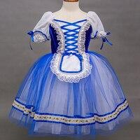 Classical Ballet Long Tutu Girls Women Lace Royal Blue Ballerina Romantic Dress Adult Ladies Professional Ballet