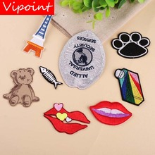 VIPOINT embroidery lip bear fish patch animal cartoon patches badges applique for clothing YX-136