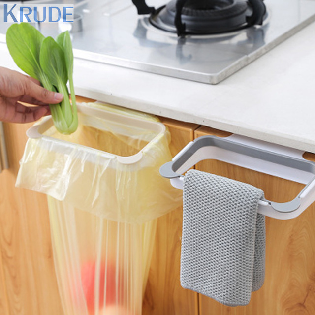 Two Color Cupboard Door Back Trash Can Kitchen Garbage Bag Holder Hanging  Dustbin
