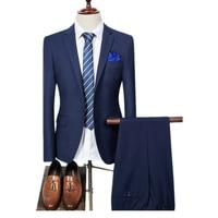 Vestito degli uomini di Colore puro 2 Pezzo Set Grigio Blu Nero Viola Red Fashion Business Banchetto di Nozze Mens Abiti Giacche e Pantaloni 2018