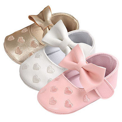 Baby Girl Boy Leather Anti Slip Bowknot Shoes Kids Baby Gold Pink White Soft Sole First Walkers Prewalker Sneakers Accessories