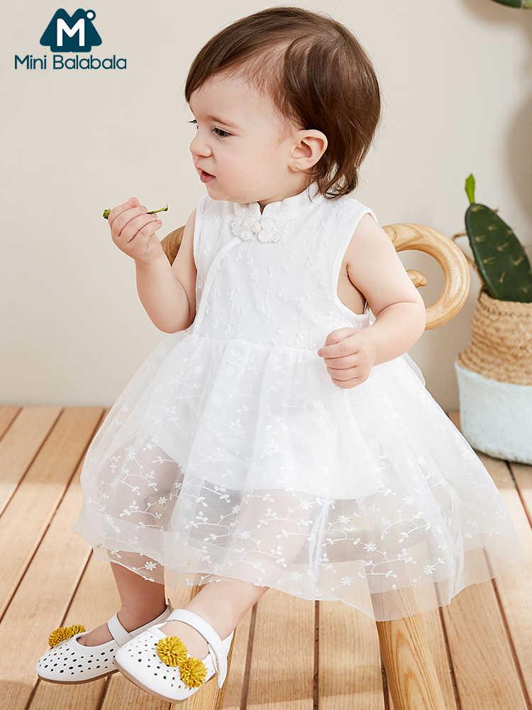 Мини-платье в китайском стиле для девочек; Новинка 2019 года; Летние платья без рукавов в сеточку; легкие и красивые платья