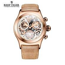 Arrecife Tigre/RT Deporte Del Cronógrafo Relojes para Hombre Skeleton Dial con Fecha Tres Contadores Luminoso Oro Rosa Relojes Únicos RGA792