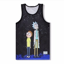 Casual Unisex Rick and Morty 3D Print Tank Tops Breathable Summer Cartoon Print Men's Muscle Shirt Body Building Vests Clothing