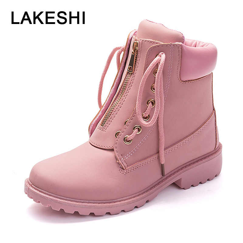 LAKESHI Women Boots Autumn Booties Woman 2019 Fashion Ankle Boots Round Toe Ankle Boots Women Zipper Cover Female Shoes