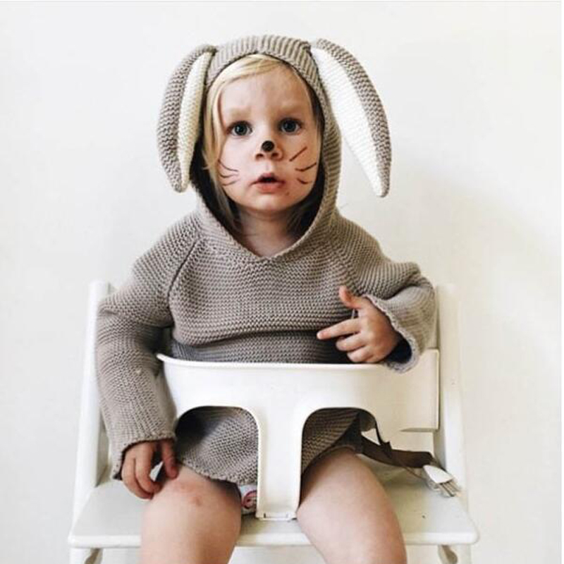 2017 New Spring Autumn Kids Cotton Rabbit Style Long Ear Hooded Sweaters For Boys Girls Baby