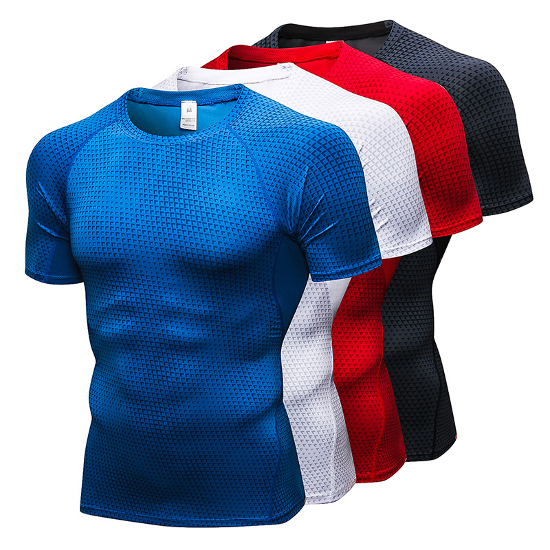 Tracksuit Sport Shirt Men Summer Quick Dry Running T-shirt Short sleeve 2019 Gym Compression Sportswear