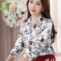 2016 Новый Женщины Осень Шифон Блузка С Длинным рукавом Цветочный Печатные Рубашки Повседневные Тонкий Цветы Топы Blusas Camisas Roupas Femininas
