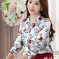 2016 New Women Autumn Chiffon Blouse Long-sleeve Floral Printed Shirts Casual Slim Flowers Tops Blusas Femininas Camisas Roupas