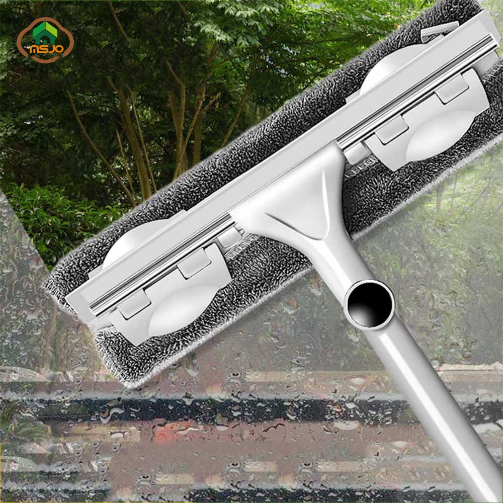 MSJO Window Cleaner Telescopic Long Handle Brush High Build Bar Mop For Window Silicone Cleaning High-Rise Glass Wiper Brushes