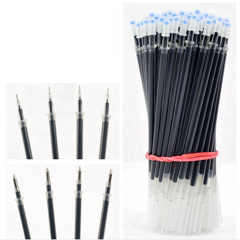 50 Pcs/lot Gel Pen Refills 0.38 / 0.5mm Classic Blue Red Black Ink Replaceable Refill For Writing 13 CM Office School Supplies