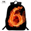 SHUNAN Brand Polyester Cute 16 Inch Printing Mythical Animals Flame Number 6 Boys School Bags for Teenagers Boys School Backpack