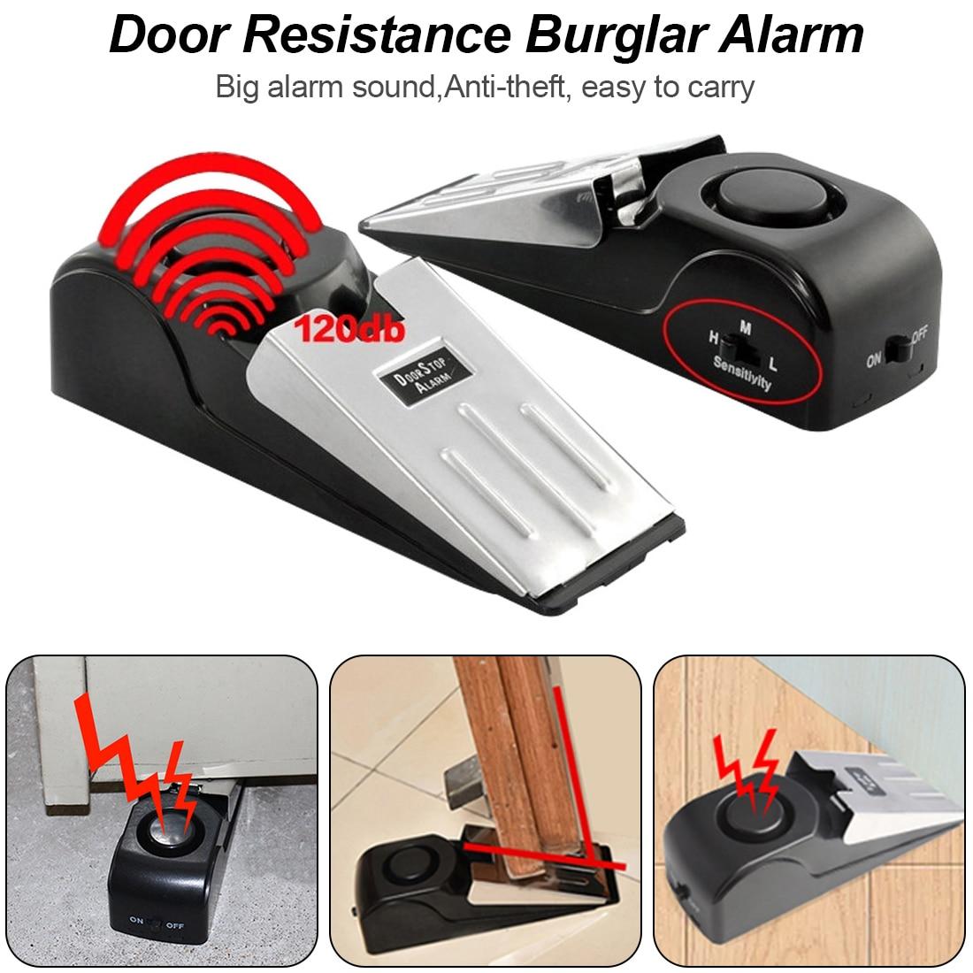 150 dB Door stop stopper Alarm Block Blocking System Women Baby hotel Safety Protector Door Stops in Door Stops from Home Improvement