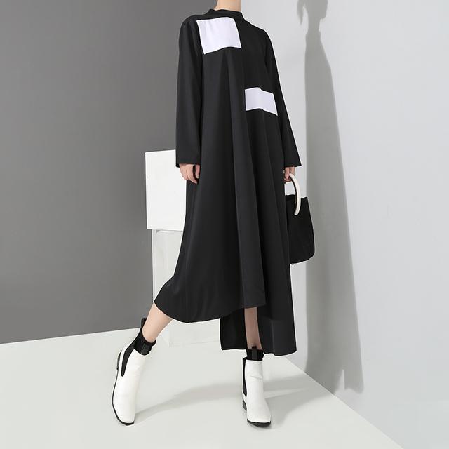 Vestido Longo Assimétrico Preto Com Quadrados PatcheDe Manga Longas 2019
