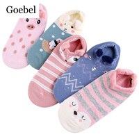 Goebel Cotton Women Socks Shallow Mouth Comfortable Woman Summer Socks Cartoon Creative Short Tube For Girls