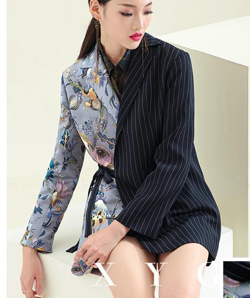 Femmes Manteau 18030188 Impression Blazer Multi Nouveau De 2018 Arrivent Automne f0qxS