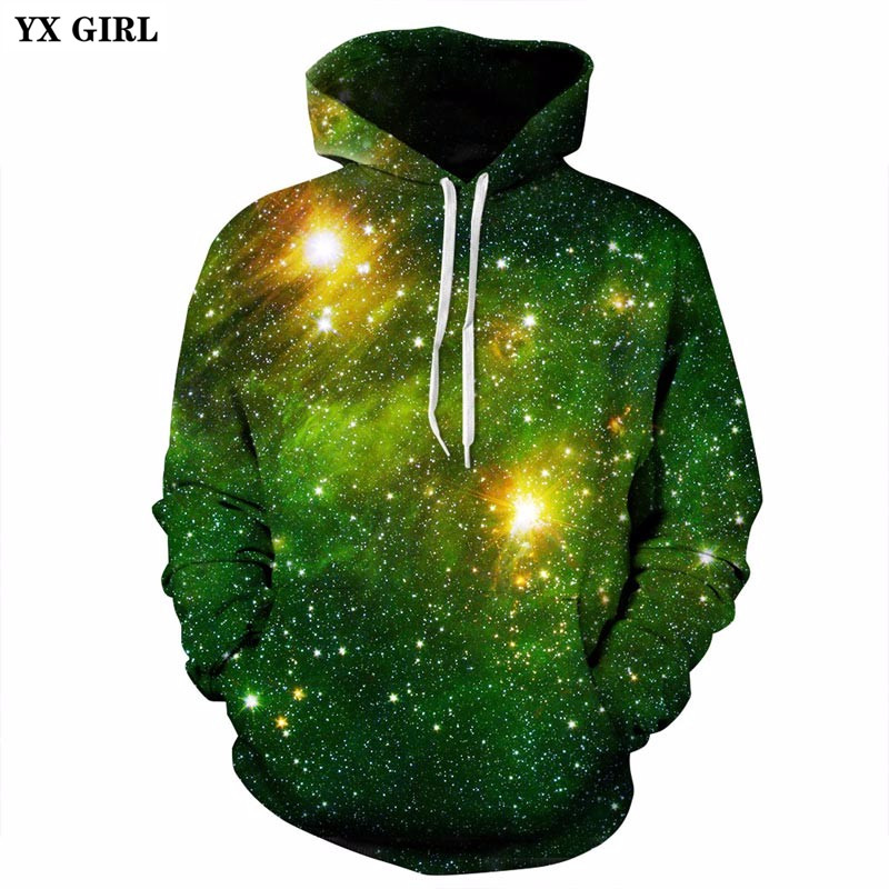 YX GIRL Space Galaxy 3D Sweatshirts Men/Women Hoodies With Hat Print Stars Nebula Autumn Winter Loose Thin Hooded Hoody Tops