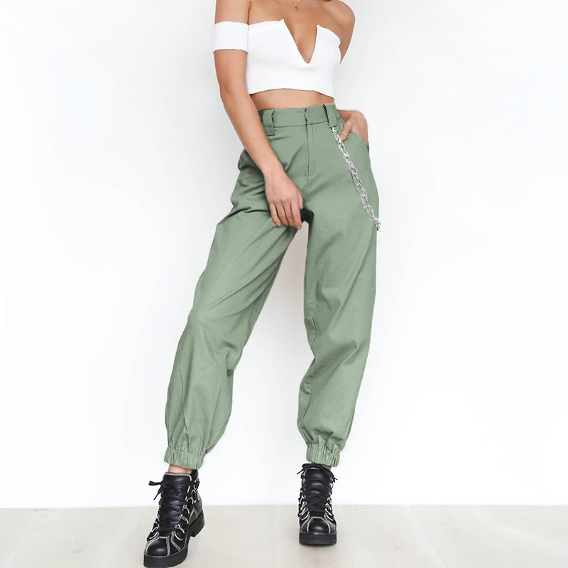 British Sports And Leisure Personality With Waist Chain Solid Color Harem Pants Wide-Leg Pants Loose Trousers Free Shipping
