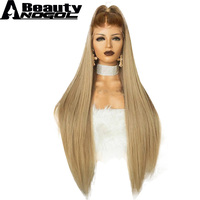 ANOGOL BEAUTY High Temperature Fiber Free Part Long Natural Straight Full Hair Wigs Brown Ombre Blonde Synthetic Lace Front Wig