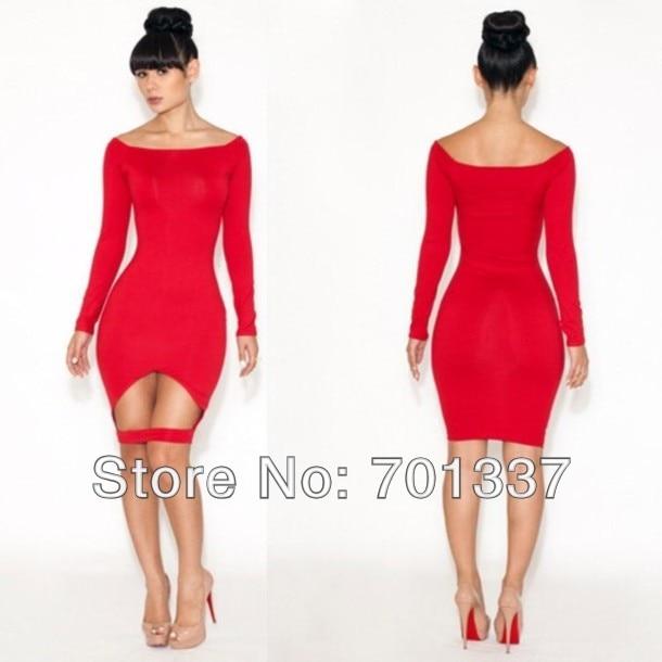 1cece610be Negro rojo mujeres bonitas spendex lycra vendaje del bodycon vestido de la  manera clubbing wear B4022 un tamaño en Vestidos de La ropa de las mujeres  en ...