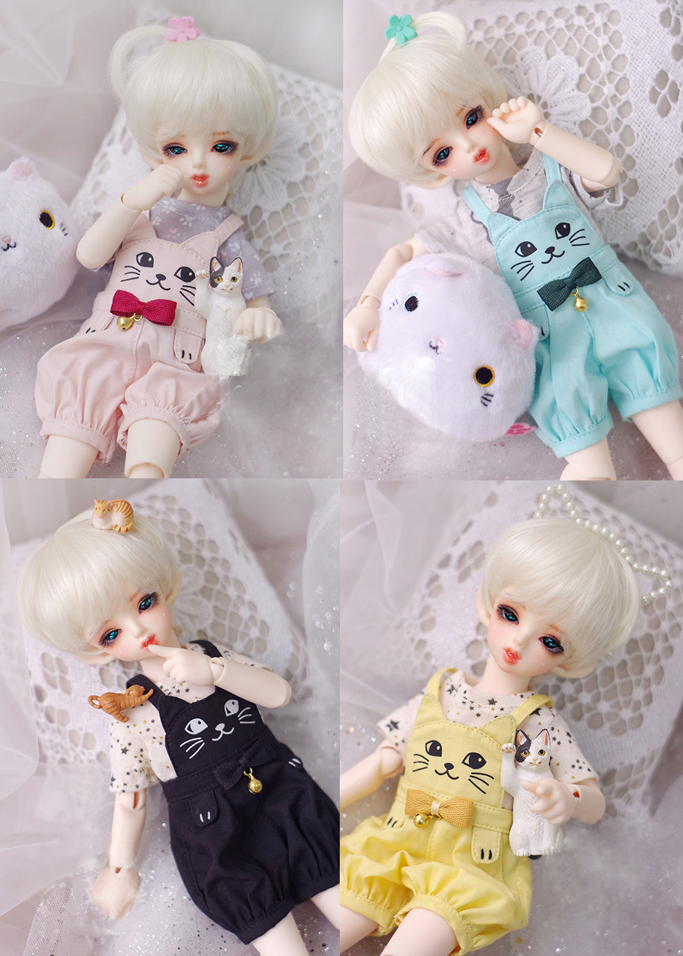 BJD doll clothes BJD pants small bell cat overalls for 1/6 BJD YOSD doll size pants doll accessories кукла bjd dc doll chateau 6 bjd sd doll zora soom volks