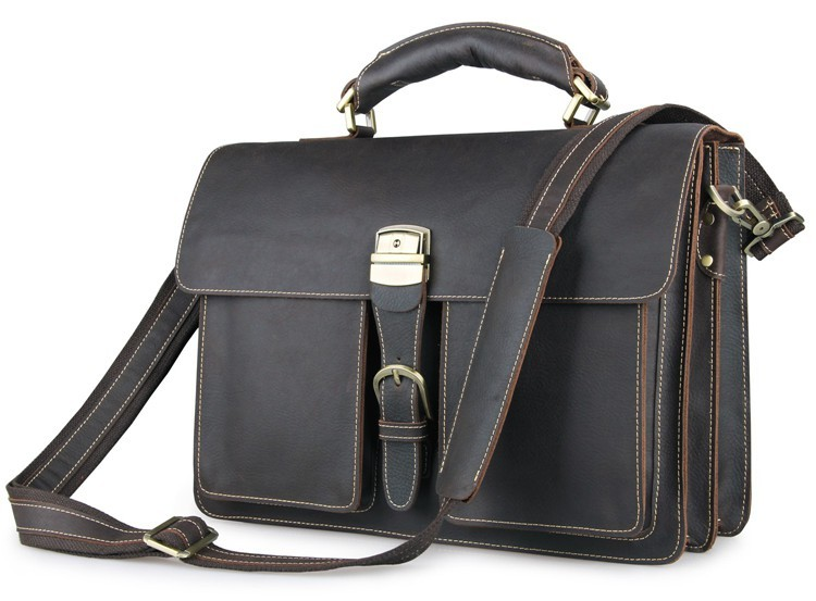 Business Klassische Handtasche Vintage Kapazität Chocolate Leder Messenger Portfolio Aktentaschen Jmd Tasche Große Büro Echtem 7164q fxPEwwS