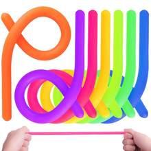 Juguete de descompresión para niños y adultos, cuerda elástica luminosa de fideos, TPR, antiestrés, Fidget, juguetes de ventilación para autismo, 28cm