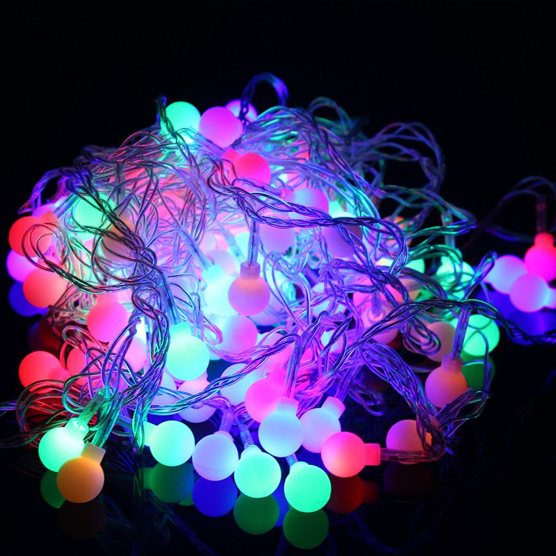 10M 100 LED Balls Globes Fairy LED String Light Bulbs Multicolor Party Wedding Christmas Garden Outdoor Decor 220V EU Plug darice 2463 54 plastic metallic christmas bulbs 1 12 pkg multicolor