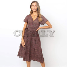 CUERLY Women Summer Dress 2019 Casual Short Sleeve Long Boho Floral Print Midi V-neck Elegant Dresses Vestidos L8