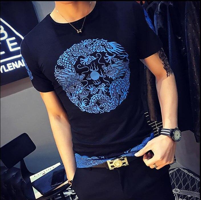 2018 printemps mode marque o-cou Dragon imprimer Slim Fit à manches courtes T-Shirt hommes tendance décontracté hommes T-Shirt t-shirts 4XL 5XL