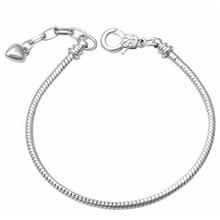Basic Bracelets Charm Bead diy 17-22cm chain Heart 925 Snake Chain Bangles Fit Original Bracelet Women Diy Jewelry Making недорого