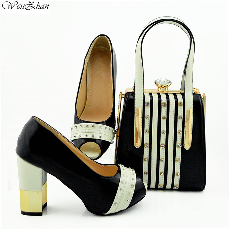 Latest Shoes Matching Bags Gorgeous Black Big Heel For Wedding,High Heel Shoes With HandBag Set For Parties 38-42 WENZHAN B95-22Latest Shoes Matching Bags Gorgeous Black Big Heel For Wedding,High Heel Shoes With HandBag Set For Parties 38-42 WENZHAN B95-22