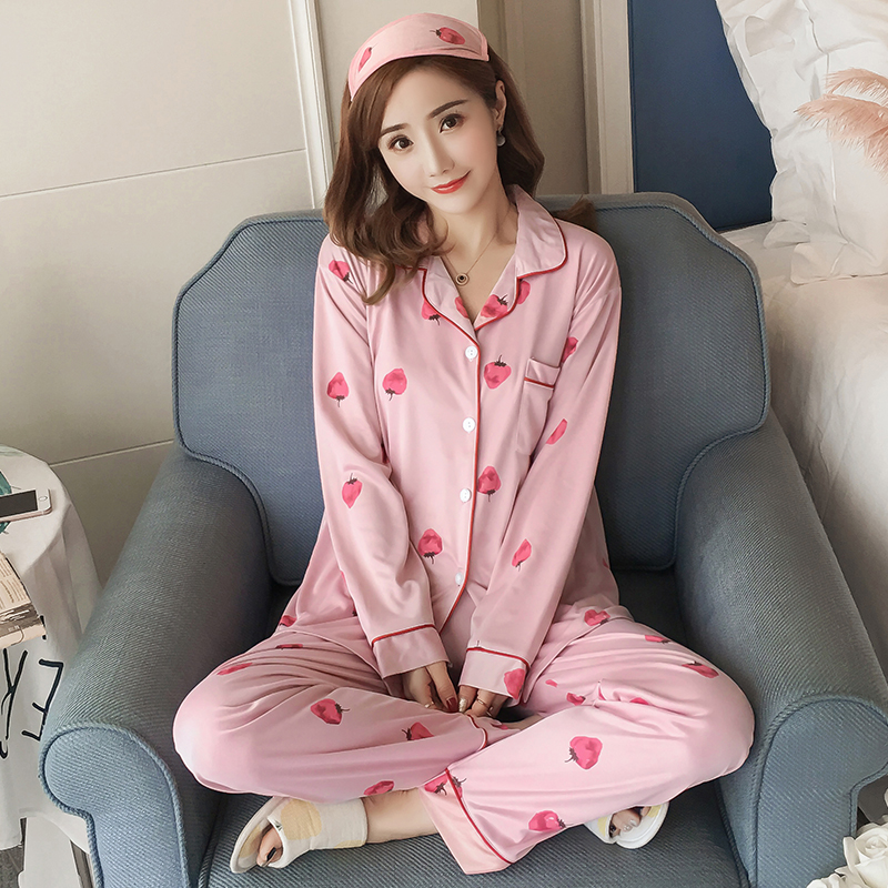 365e6d3b6 Detail Feedback Questions about Autum and spring women longsleeve pajamas  suit fall girl printed Strawberry full nightgown Women s Clothing tops+pants  ...