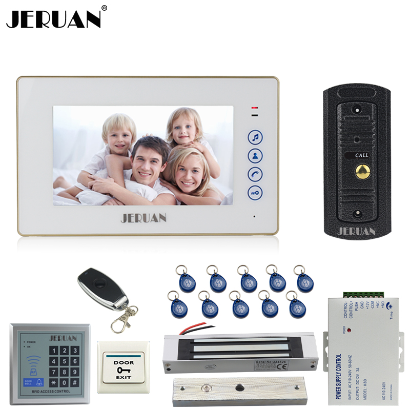 JERUAN 7`` TFT Touch key Video Door phone Intercom System kit 1 Monitor Full Metal 700TVL IR Pinhole Camera RFID Access Control jeruan home 7 video door phone intercom system kit 1 white monitor metal 700tvl ir pinhole camera rfid access control in stock