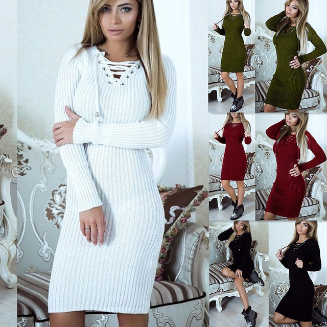2b9ded0c58 White Red Green Black Long Sleeve Women Knitted Sweater Dress Bodycon Keep  Warm Autumn Winter Knee-length Sweater Dress Knitwear