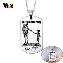 Vnox FATHER AND SON Stainless Steel Pendant Necklaces Free Customized Engrave Name Logo ID Tag Necklaces Gifts for DAD(China)