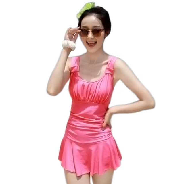b2564a62eb967 Elegant Push Up Bathing Suit Tops Cute One Piece Swimsuits Modest Slimming  Swim Dresses For Juniors Sexy Women Beach Cover Ups p