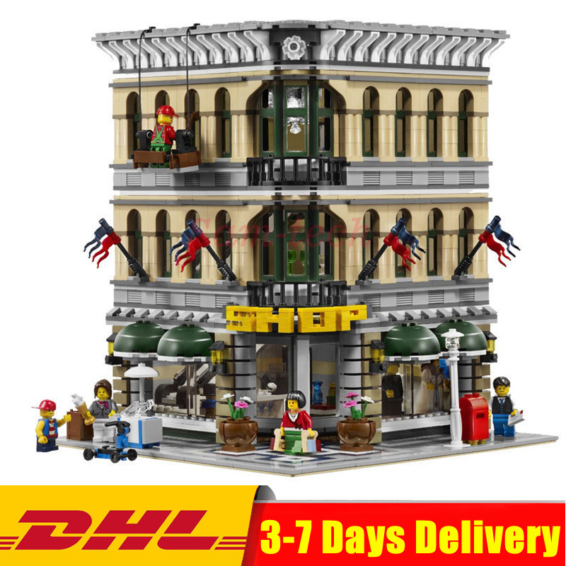 LEPIN 15005 City Street Grand Emporium Model Building Kits Blocks Assembling Bricks Compatible 10211 Educational Toys Gifts classic lele 30004 grand emporium creator architecture building blocks bricks toys diy for children model compatible with 10211