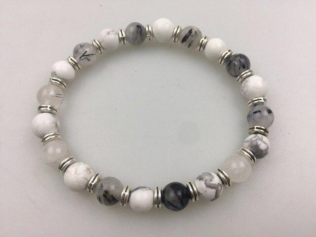 Natural Rutilated Quartz White Howlite Bracelet Round Bead Fashion Men S Bracelets Sports Yoga Mala